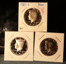 Lot fo Three JFK Proof Half Dollars  1972S, 1987S TONING, and 1992S