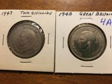 1947 and 1948 Great Britain two Shilling coins