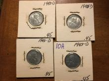 lot of four 1943D Steel cents uncirculated