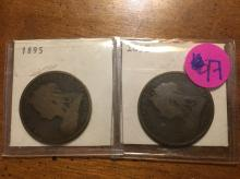 two great britain one pennies both 1895