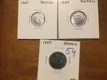 1967 Brazi 5 centavos, 1969 Brazil 2 centavos and 1969 Brazil 1 cetavo    ALL UNCIRCULATED