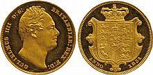 BRITISH COINS, MILLED GOLD SOVEREIGNS, William IV,
