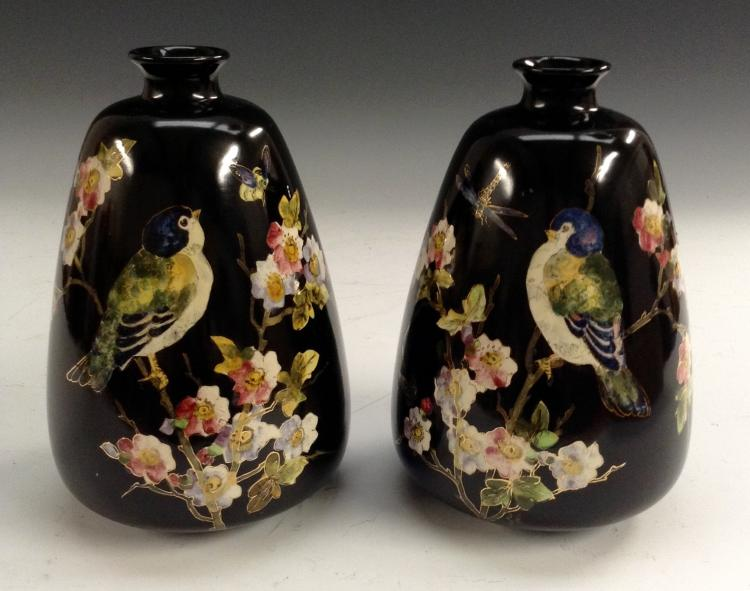 A Pair Of Bretby Cloisonn Ware Spreading Ovoid Vases Decor
