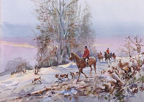 Michael Crawley The Hunt in Winter signed,