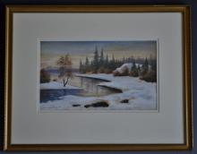 "Theresia Lisen Sandstr""m (1893-1981)  Winter light over the Torne signed, d"