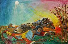 Sven Berlin (1911-1999), Ram & Shepard 1999, oil o