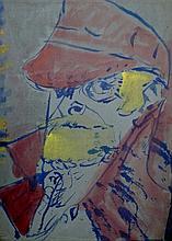 Sven Berlin (1911-1999), Self Portrait- Red Cap, m