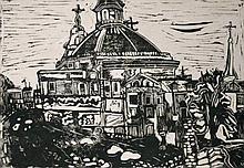 "Ray Ambrose (1926-1989) ""Church Partly Demolished,"