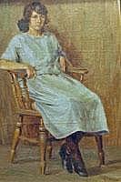 L. Allen Girl sitting in a chair, oil on board,