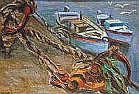 Marjorie Mort (1906- 1989) The Moorings - oil on