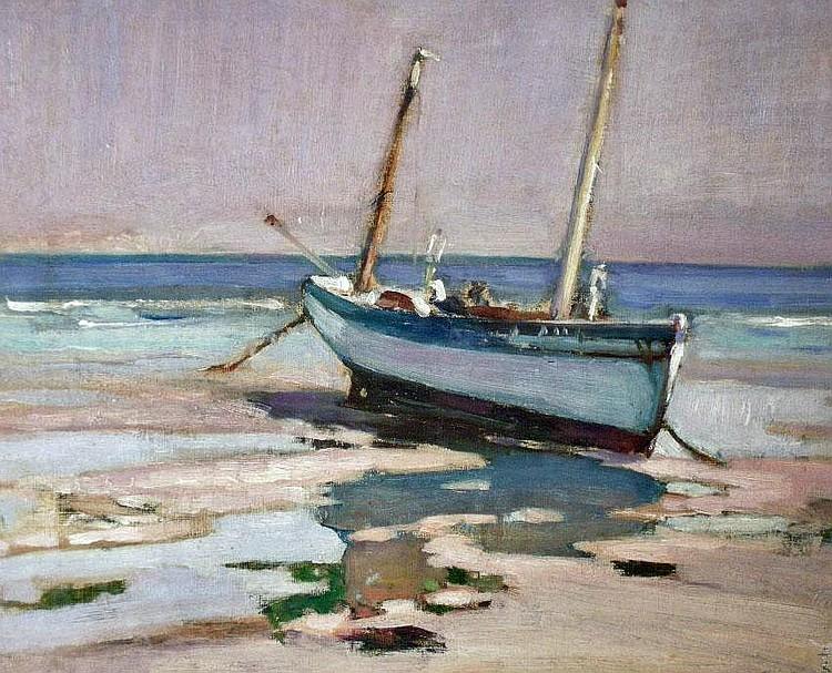 Harry Harvey Clarke (1869-?) Low Tide St.Ives, oil