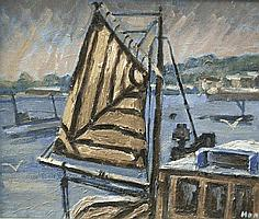 Marjorie Mort (1906-1989) Brown Sail, oil on
