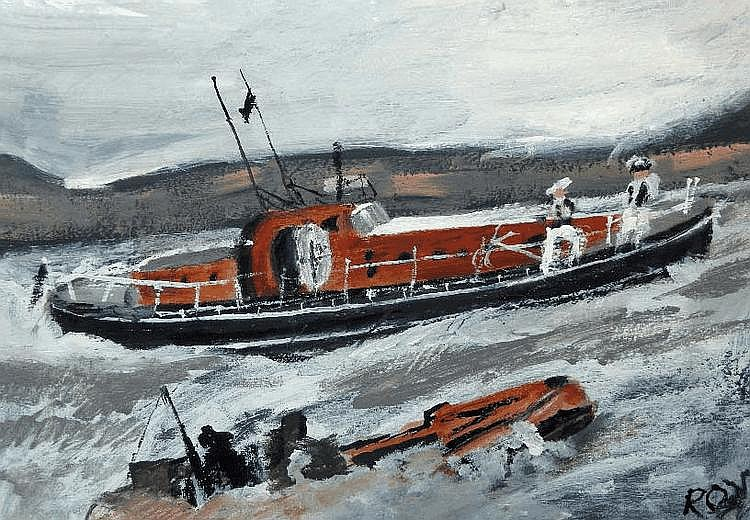 Roy Davey (20th Century) Life Boats, oil on board,