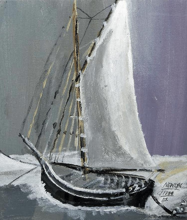 Roy Davey (20th Century) Old Newlyn Fishing Boat,