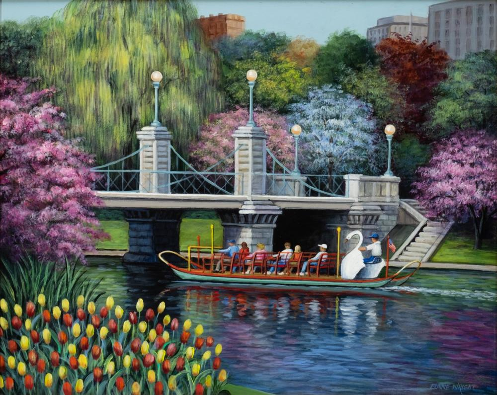 """Elaine Wright, Am. 20th Century, """"Swan Boats"""", Oil on masonite, framed, 15 7/8"""" x 19 7/8"""" actual, 21 5/8"""" x 25 9/16"""" framed"""