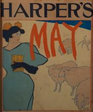 """Edward Penfield, Am. 1866-1925, Harper's New Monthly Magazine, May 1895, Lithograph, framed under acrylic, 15"""" x 12 3/8"""" sight, 16 9/1"""