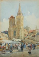 """Charles John Watson, Br. 1846-1927, """"Market Day, Lisieux"""" 1908, Watercolor on paper, framed under glass, 12 3/4"""" x 9 1/8"""" sight, 17 3/4"""