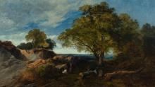 """Sidney Richard Percy, Br. 1822-1886, Camp in the Wilderness, 1880, Oil on canvas, framed, 20 3/4"""" x 35 3/4"""" actual, 26 3/16"""" x 41 1/8"""""""
