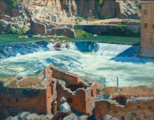 """Aiden Lassell Ripley, Am. 1896-1969, Cataracts-Toledo, 1925, Oil on canvas, framed, 24 5/16"""" x 30 7/8"""" actual, 31 5/16"""" x 37 3/4"""" frame"""