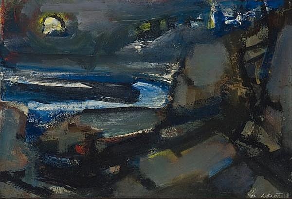 Jean Liberte - 'Moonlight, Monhegan Village'
