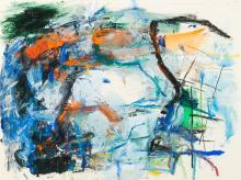 "James Bohary, Am. b. 1940, ""Drook at Cape Race"" 1978, Acrylic on paper, framed under glass, 18"" x 24"" sight, 24 3/8"" x 31 1/2"" framed"