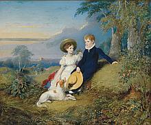 English School - Hillside Portrait of Children