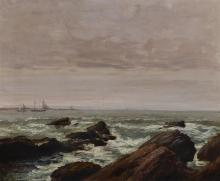 """Charles Mielatz, Ger. 1864-1919, Seascape, Oil on canvas, 17"""" x 14"""""""