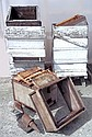Two pre-war white painted layer beehives,