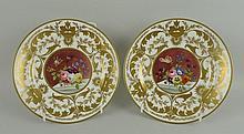 A pair of Crown Derby porcelain tea plates, late