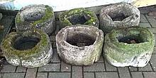 Six reconstituted stone planters, circular in