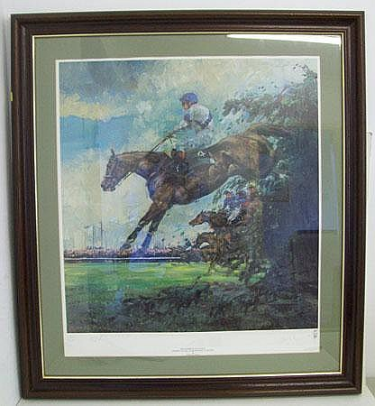 Limited edition print of a jockey and horse mid