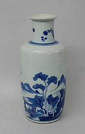 A Kangxi porcelain blue and white vase, of