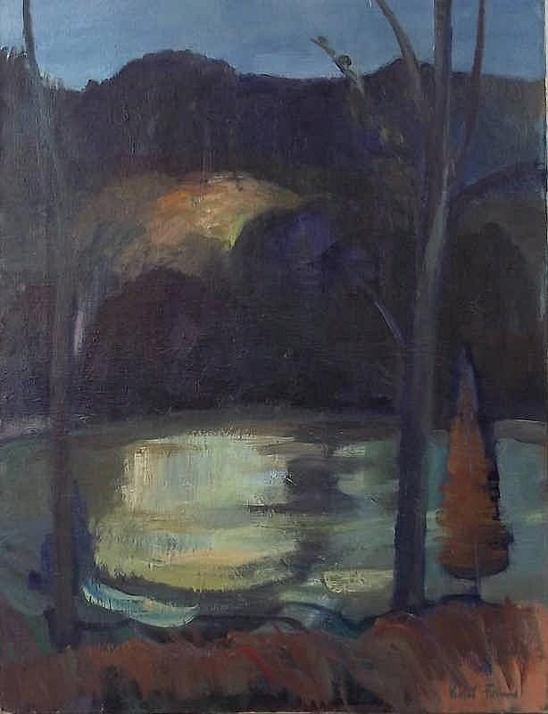 Violet Fuller (British 1920-2008): lake scene, oil