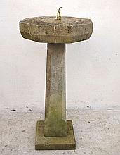 A French Caen limestone sundial with brass gnomon,