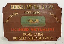 An 20th century painted farm sign, 'George Lamyman