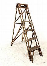 A vintage 'Lattistep' pine folding stepladder, The