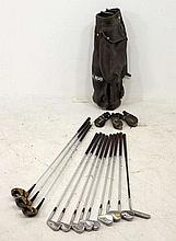 A set of golf clubs and irons formerly owned and