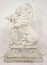 A Victorian white painted cast iron door stop in