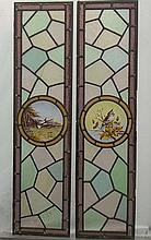 A pair of stained glass panels, circa 1900, each