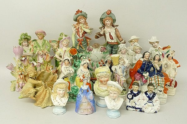 A quantity of pottery and porcelain figures, 19th