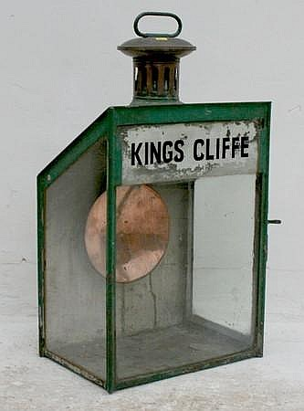 A glazed station lamp for Kingscliffe with copper