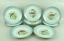 A set of ten J Pouyat, Limoges, porcelain plates,