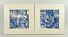 A pair of Royal Goedewaagen delftware tiles, 'The