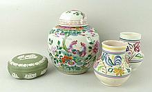 A Wedgwood green Jasperware dressing table box and