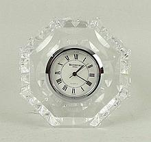 A Waterford crystal quartz table clock, 7cm high.
