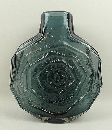 A Whitefriars Pewter Glass Banjo Vase By Geoffrey