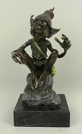 A bronze figure of an imp, style of David Goode,