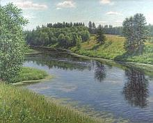 Rashit Habirov (Russian d.1953): river landscape i