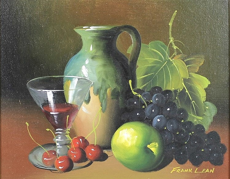 Frank Lean (American, 20th century): Still Life with Grapes, oil on board, signed lower right, 21 by