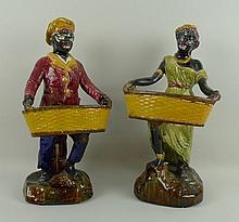 A pair of majolica Blackamoor figures, late 19th